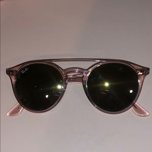Light Pink Round Ray Bans with Case